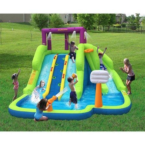 Kahuna Triple Blast Outdoor Inflatable Splash Pool Backyard Water Slide 90360 Water Slides Backyard Backyard Water Fun Inflatable Water Slide