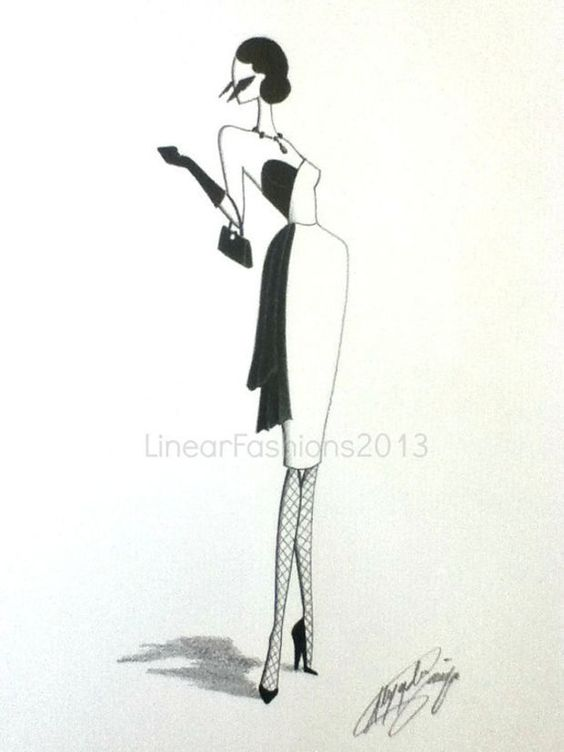 Fashion Illustration Art 1950s Wiggle Dress Black and White Original Pencil Drawing