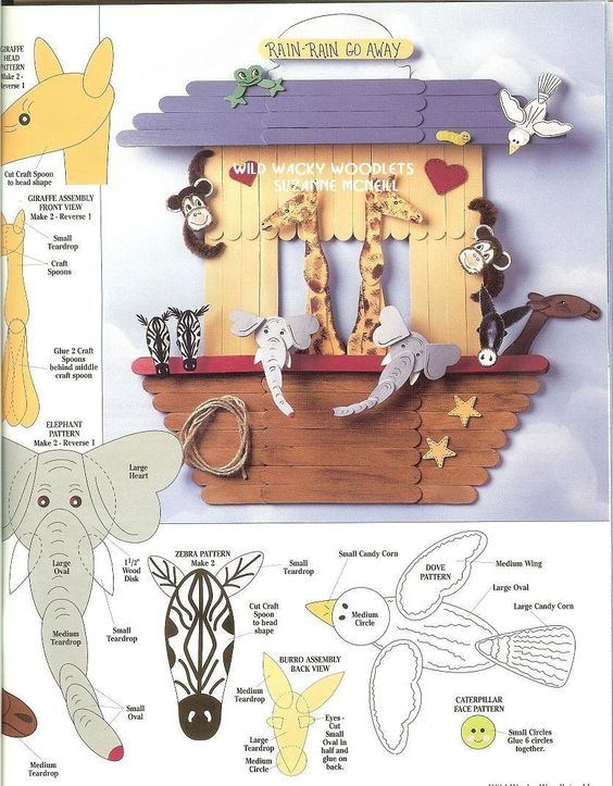 Arca de noe y mas con palitos de madera manualidades - Manualidades sobre madera ...