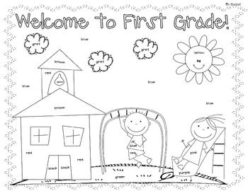 Worksheets First Day First Grade Worksheets first day of school coloring and a website on pinterest goodie bag toppers 1st grade