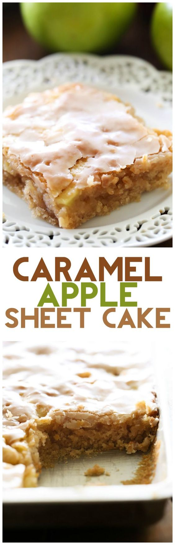 Caramel Apple Sheet Cake Recipe via Chef in Training ... this cake is perfectly moist and has caramel frosting infused in each and every bite! It is heavenly! The Best EASY Sheet Cakes Recipes - Simple and Quick Party Crowds Desserts for Holidays, Special Occasions and Family Celebrations #sheetcakerecipes #sheetcake #sheetcakes #cakerecipes #cakes #dessertforacrowd #partydesserts #christmasdesserts #thanksgivingdesserts #newyearseve #birthdaydesserts
