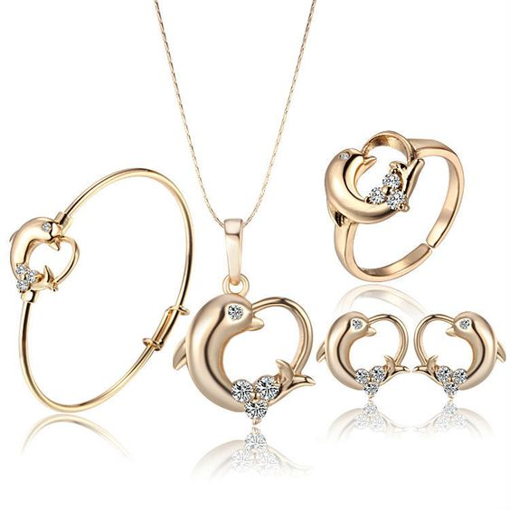 18K Gold Plated Crystal Dolphin Set
