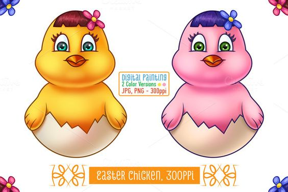 Check out Easter Chicken in Egg Shell by pixaroma on Creative Market