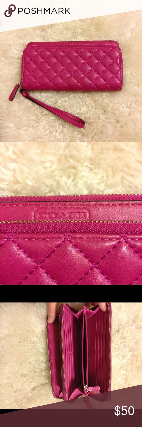 Coach Park Quilt Leather Zip Wristlet Wallet VGUC authentic coach wallet with little to no wear and tear. Top zipper is sensitive and does close but need to be careful. Price reflects issue. All other zippers work great! And inside is clean with no stains looks new. Coach Bags Clutches & Wristlets