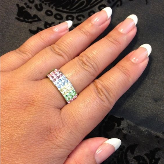 ❗️ ❗️ SALE❗️❗️NEW Rainbow CZ ring Stunning rainbow thick band ring- because the thickness of the ring it would fit size 8- other sizes available - please let me know what size you are looking for Jewelry Rings