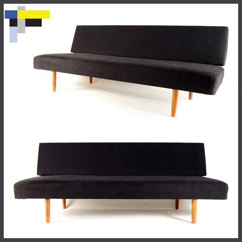 Retro vintage danish modern design teak daybed sofa bed for Scandinavian sofa bed