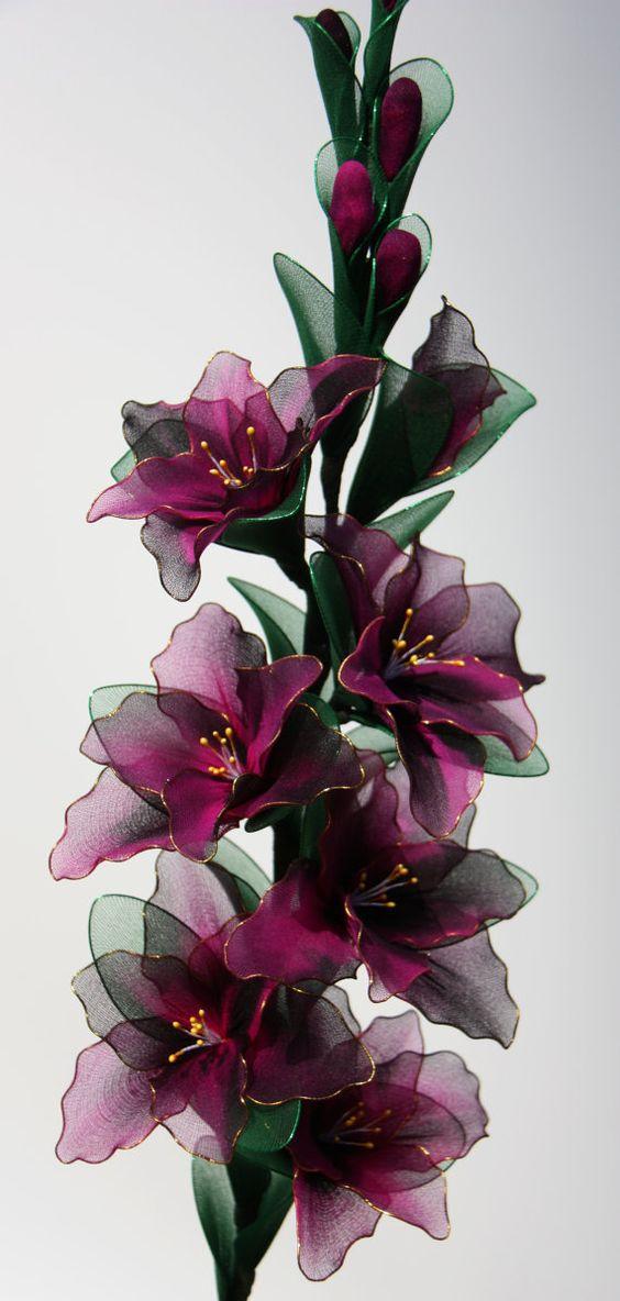Items similar to Gladiole Nylon Blumen, Blumenschmuck, Hochzeit Blumen on Etsy