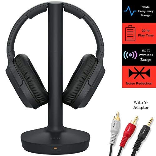 Sony Rf400 Headphone Cable Bundle Includes Wireless Home Theater Over Ear Headphones Feature 150 Foot Range Wireless Headphones For Tv Headphones Wireless