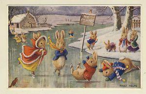 Racey postcard   Racey-Helps-Artist-Postcard-Winter-Fun-Rabbits-Ice-Skating-on-a-lake ...
