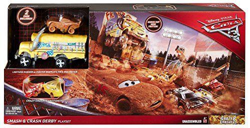 Disney Pixar Cars Mini Racers Crank and Crash Derby Playset Lightning McQueen