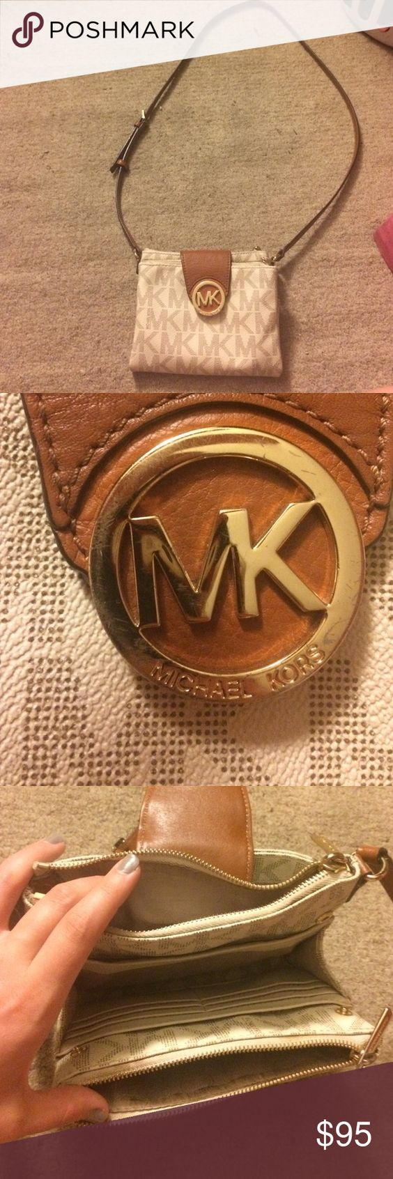 Michael Kors crossbody bag. Authentic MK crossbody bag. Barely used. Straps are adjustable and in great condition, only flaw is the stain on the back shown in the pictures. Has multiple pockets. And is gold hardware. Price is negotiable! Send an offer Michael Kors Bags Crossbody Bags