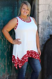 Star Spangled Banner Sleeveless Tunic ~ Red ~ Sizes 12-18
