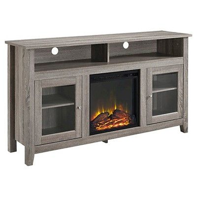 58 Wood Highboy Fireplace Media Tv Stand Console Driftwood