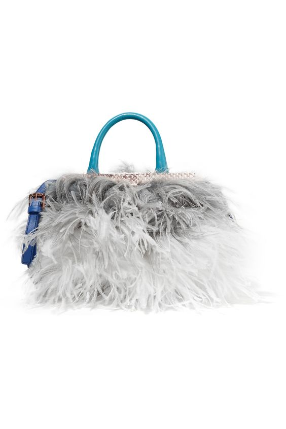 JUST CAVALLI Feather And Leather Shoulder Bag. #justcavalli #bags #shoulder bags #hand bags #silk #leather #