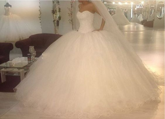 New White Tulle Wedding Dresses Sweetheart Pearls Bridal Custom Made Ball Gowns | eBay