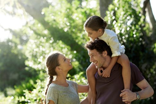 Happy parents with daughter in park