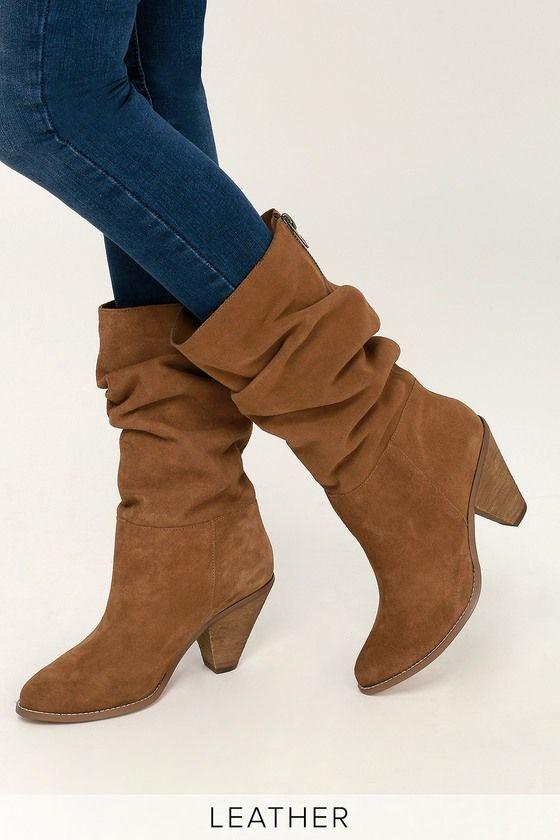 Stella Rusty Brown Split Suede Leather