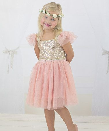 Just Couture Pink &amp- Gold Sequin Sparkle Dress - Toddler &amp- Girls ...