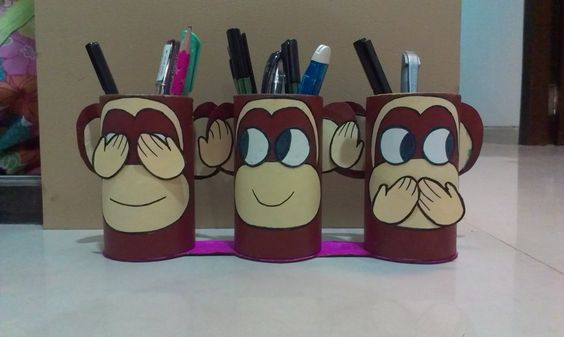 Gandhiji 39 s 3 monkeys pen stand best out of waste product for Best out of waste items
