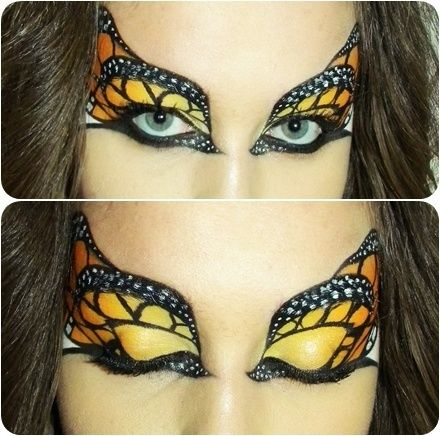 Monarch Butterfly face paint eyes