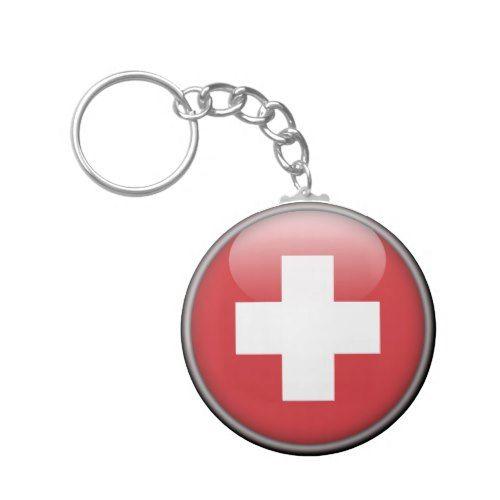 Swiss Flag Flag Of Switzerland Keychain Zazzle Com Switzerland Flag Swiss Flag Custom Keychain