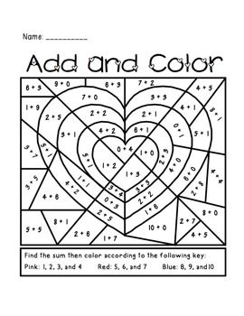 Valentine S Day Add And Color Activity 1 50 Great For Primary Kindergarten Valentines Holiday Math Centers Holiday Math