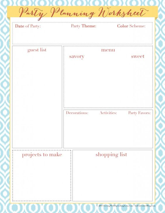 Printables Party Planning Worksheet birthday party planning worksheet versaldobip pinterest the world 39 s catalog of ideas worksheet