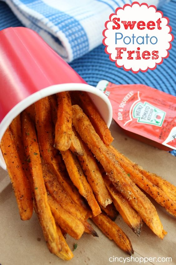 Sweet Potato Fries! With Mariniaria, salad with yogurt, nuts, garlic ...