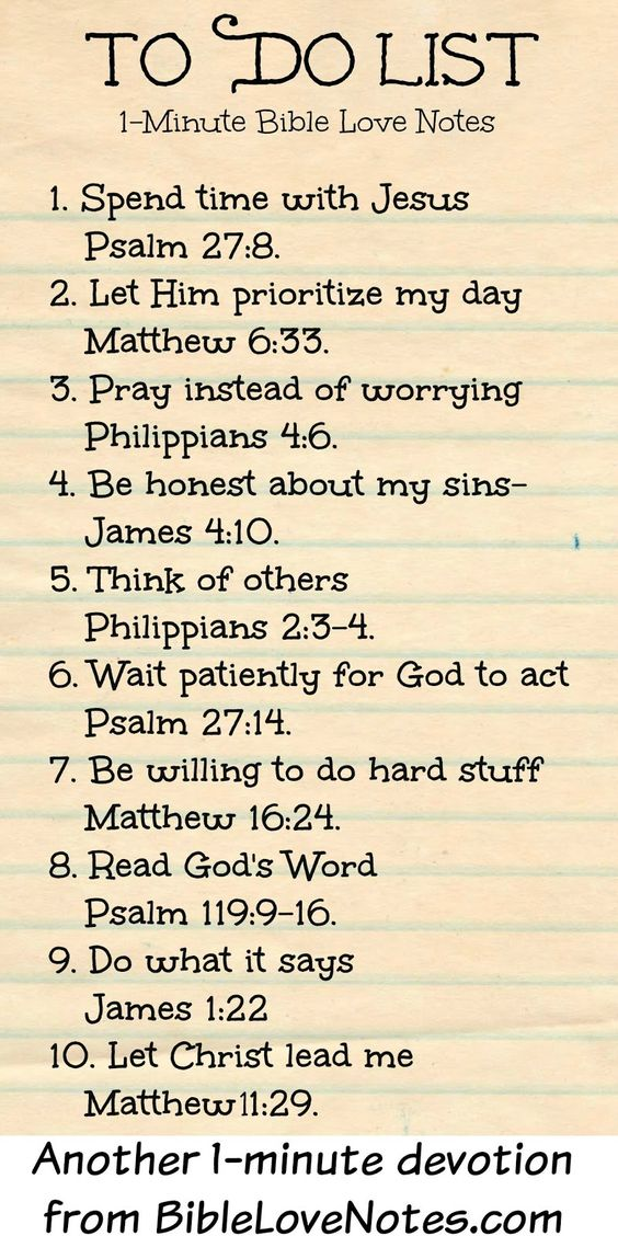 1-Minute Bible Love Notes: To Do List  This 1-minute devotion gives details and Scripture links.
