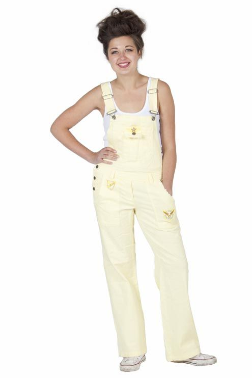 Womens - Cotton Dungarees - Yellow