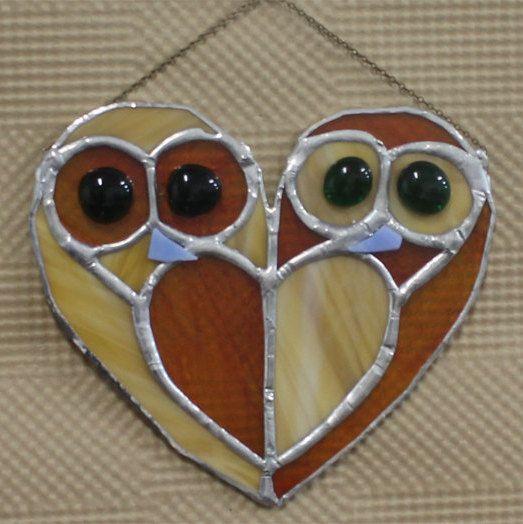 Vitrail oiseau hibou Suncatcher Yuri décoration de la par osnatfox                                                                                                                                                                                 Plus