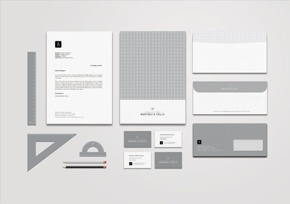 Martínez & Trillo. corporate identity & design on the Behance Network. Grayscale themed stationery elements.: