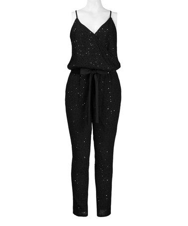 Loving this Black Sequin Sleeveless Jumpsuit on #zulily! #zulilyfinds