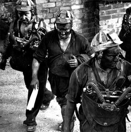 Rescue miners at Six Bells Colliery, Abertillery, June 1960. Forty-six men were killed in a gas explosion in Wales.