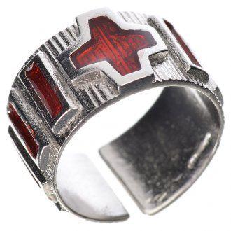 Anello decina argento 800 smalto rosso | vendita online su HOLYART
