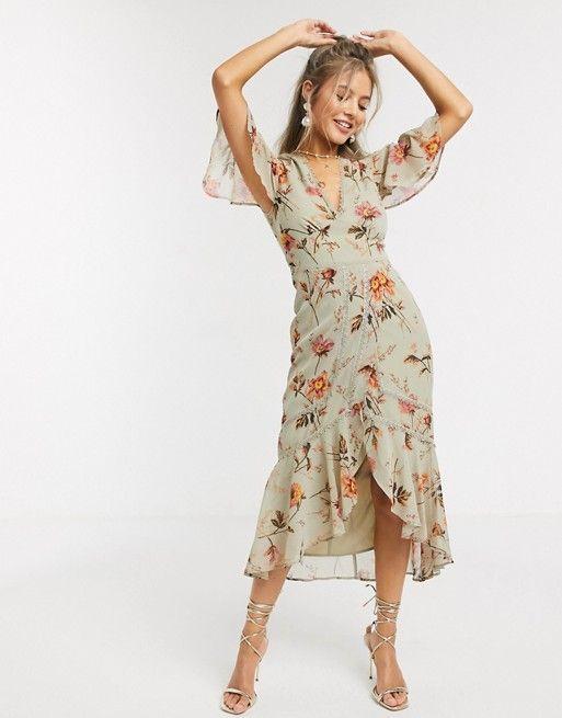 Hope Ivy Plunge Midi Tea Dress In Meadow Floral Asos In 2020 Tea Dress Long Sleeve Pencil Dress High Fashion Street Style