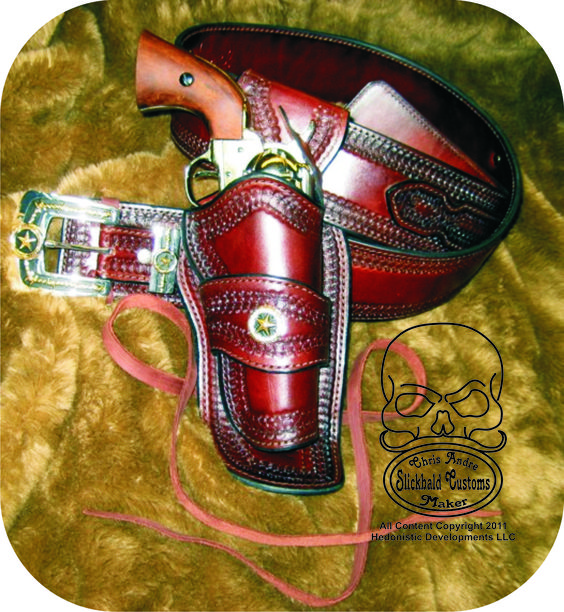Cowboy Fast Draw with Ranger Belt  www.slickbald.com #holster #leather #SASS #slickbald #SAA #cowboy #shooting #CFDA