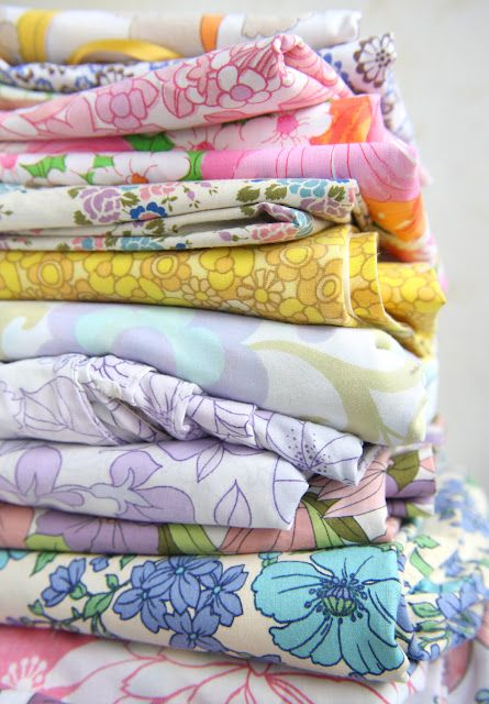 happy colours in a vintage sheet fabric collection