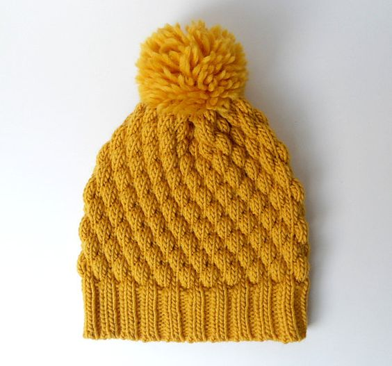 Alpaca Wool Pom Pom Knit Hat, Chunky Beanie, Mustard Knitted Hat, Yellow Wint...
