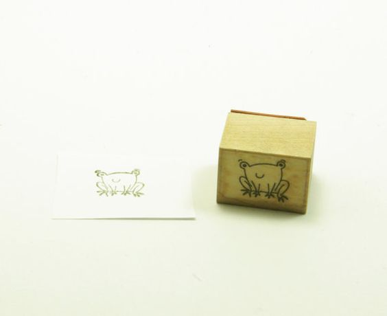 Frog Rubber Stamp Wood Mounted Seated Frog Smiling by Niecyann79