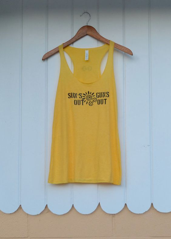 Suns Out Guns Out Women's Racerback workout tank by Ready Set Sweat on Etsy Available in 8 colors