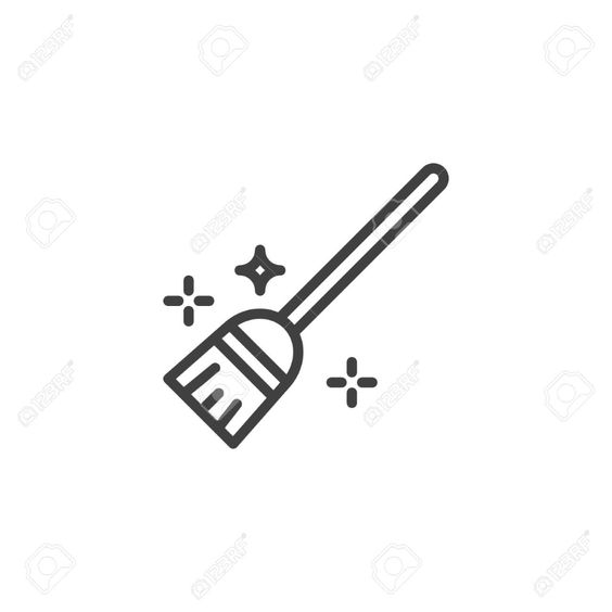 Flying Broom Line Icon Linear Style Sign For Mobile Concept Line Icon Icon Broom