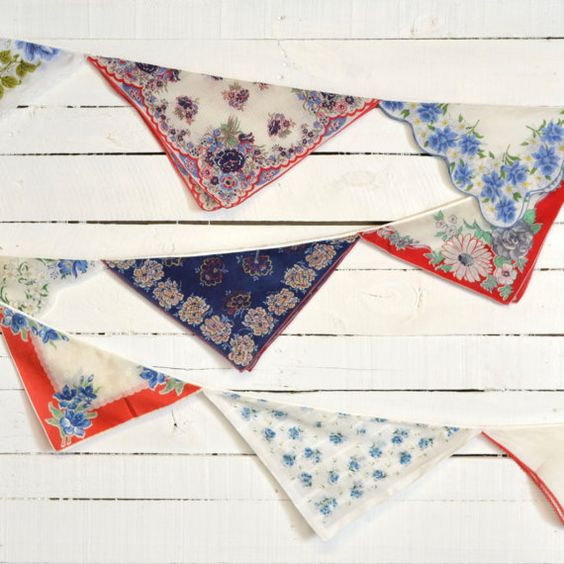 Party Decoration - Vintage Hankie Bunting - Wedding Garland - Nursery Decor - Americana - Red  White Blue Colors