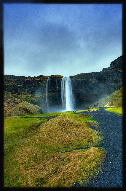 Waterfall - Seljalandsfoss,  Iceland.
