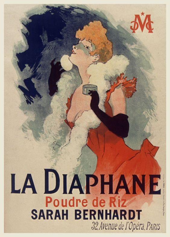 La diaphane. Poudre de riz. Sarah Bernhardt. Affiche. Art by Jules Cheret.(1836-1932). Illustrateur.