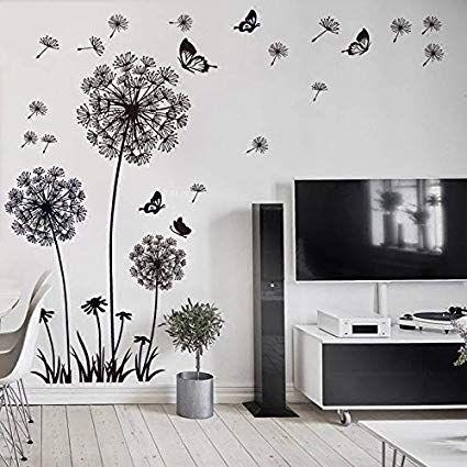 Wandsticker4u Xl Wandtattoo Quot Pusteblumen Quot Schwarz Wandbild 165x130 Cm Wands Dekorative Wandmalereien Deko Fur Wohnzimmer Wandtattoo Kinderzimmer