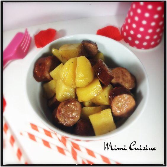 Saucisses fum es et ses pommes de terre sauce carr frais - Cuisiner des saucisses fumees ...