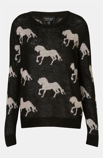Topshop 'Horse' Sweater #Nordstrom #britishstyle: Topshop Horse, Sweaters Jumper, Horses Sweater, Horse Sweater, Knitted Horse