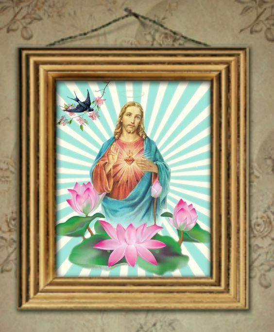 Kitsch Jesus, lotus flowers and bird print....x