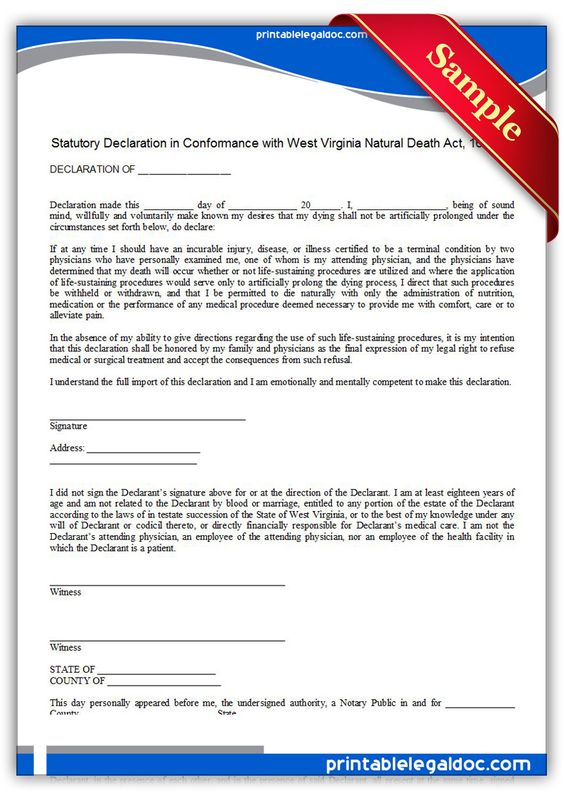 Free Printable Life Sustaining Statute, West Virginia Legal Forms - authority form template